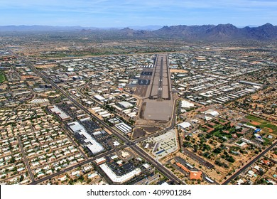 Aerial view looking to the northeast of Scottsdale Airport and the surrounding area