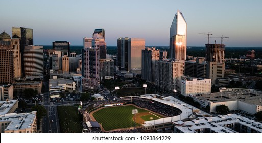 An aerial view looking in on the urban landscape of downtown Charlotte North Carolina