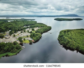 Aerial view looking over Castle Archdale caravan park near Enniskillen in Northern Ireland. Several islands can be seen here in Lough Erne