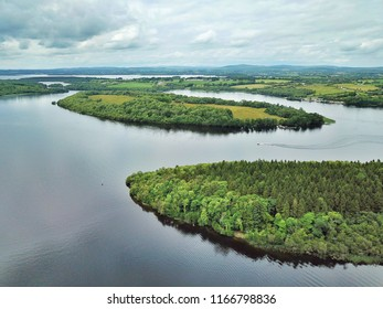 Aerial view looking over White Island at Castle Archdale near Enniskillen in Northern Ireland. Several islands can be seen here in Lough Erne