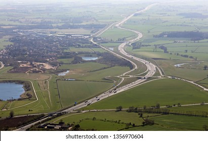 aerial view looking south into sun along the A1(M) at Catterick, North Yorkshire, UK