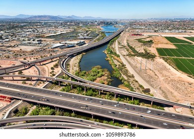 Aerial view looking west from above the Loop 101 and Loop 202 freeway interchange at the Mesa, Tempe, Arizona border