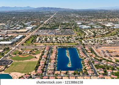 Aerial view looking west at the Playa Del Rey waterski lake community in Gilbert, Arizona