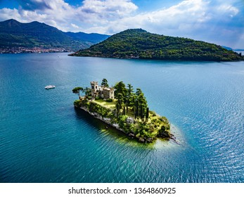 Aerial view of Loreto island, lake of Iseo in Italy. Drone photography