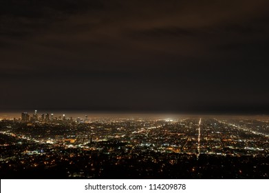 Aerial view of Los Angeles by night from Griffith Observatory