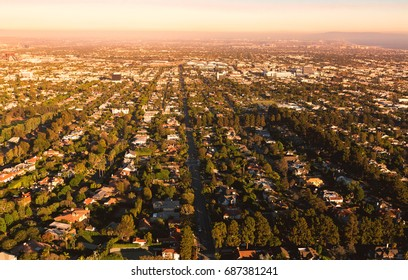Aerial view of Los Angeles, CA near Century City