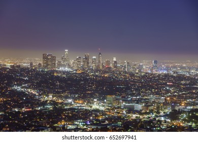Aerial view of Los Angeles downtown night scene from griffith observatory, California