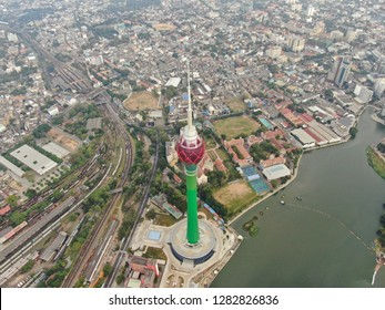 Aerial view of the Lotus tower, Colombo, Sri Lanka