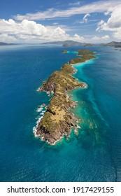 Luftbild von Lovango, Mingo und Grassy Cays in der Nähe der Insel St. John auf den Amerikanischen Jungferninseln.