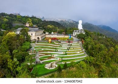 Aerial view of Love flower garden on top Ba Na hills. The famous tourist destination of Da Nang, Vietnam