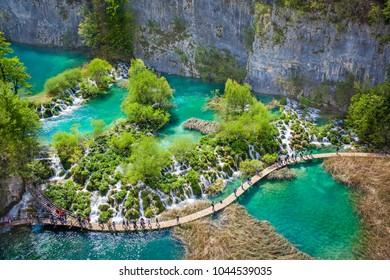 Aerial view of lovely cascades and emerald crystal clear lakes, Plitvice National Park, Croatia