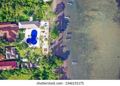 Aerial view of Lovina beach, Bali, Indonesia