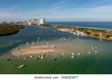 Aerial view low tide at the Haulover sandbar Miami Beach FL - Shutterstock ID 1948281877
