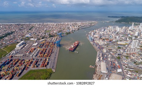 Aerial View of the Lower Itajai River (Navegantes and Itajai, Brazil)