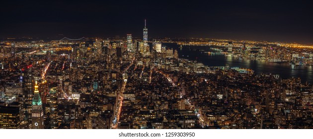 Aerial View of Lower Manhattan with Brooklyn Bridge in the Background