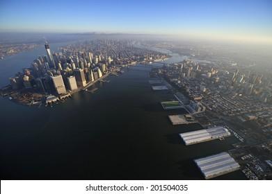 Aerial view of Lower Manhattan, Brooklyn Bridge, Manhattan Bridge and downtown Brooklyn, Brooklyn, New York