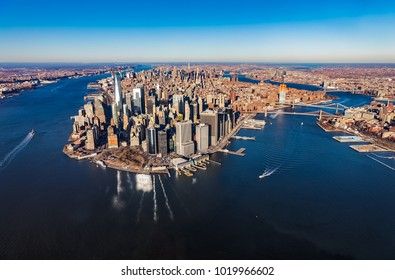 Aerial view of lower Manhattan on the beautiful winter day, New York USA.