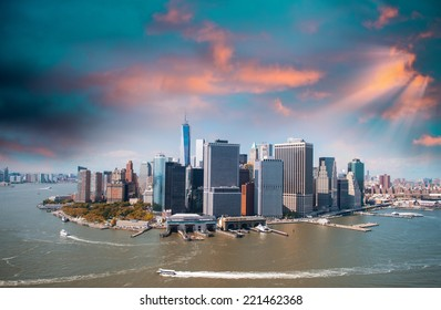 Aerial view of Lower Manhattan skyline as seen from Helicopter.