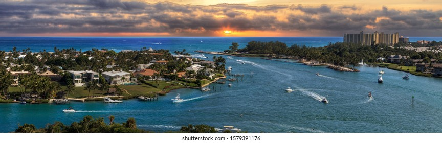 Aerial view of Loxahatchee River from the Jupiter Inlet Lighthouse in Jupiter, Florida.