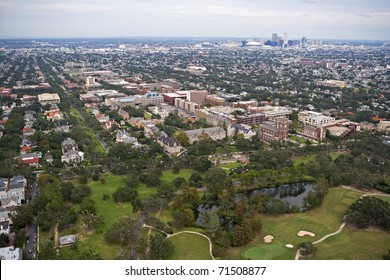 Aerial view of Loyola & Tulane University with City of New Orleans in the background