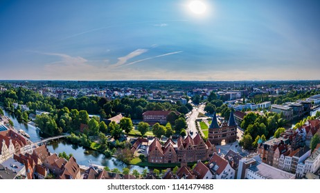 Aerial view of Luebeck, Germany.