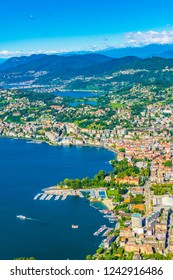 Aerial view of Lugano and Lugano lake from Monte Bré in Switzerland