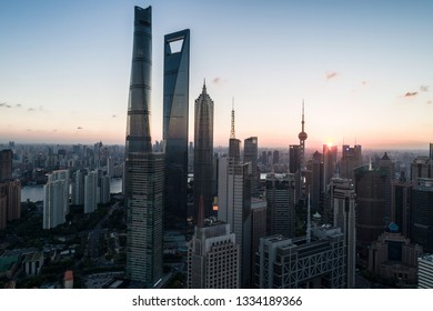 aerial view of Lujiazui, Shanghai, at sunset