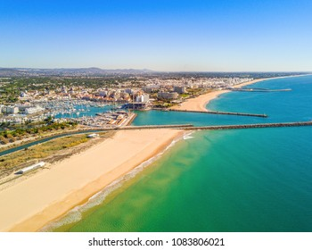 Aerial view of luxurious and touristic Vilamoura, Algarve, Portugal