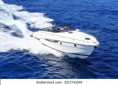 aerial view luxury motor boat