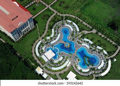 Aerial view of luxury resort in Tamarindo area, Costa Rica