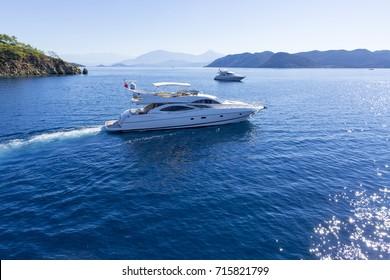 Aerial view of luxury yacht on sea in Bodrum, Turkey