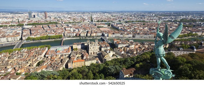 Aerial view of Lyon from the top of Notre Dame de Fourviere, France, Europe