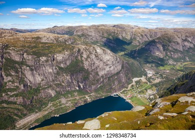 Aerial view of Lysebotn village at the end of Lysefjord (Lysefjorden) from Kjerag (or Kiragg) Plateau, a popular travel destination in Forsand municipality of Rogaland county, Norway, Scandinavia