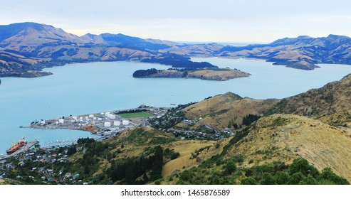 An aerial view of Lyttelton, New Zealand by Christchurch