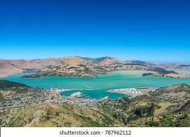 Aerial view of Lyttelton port from the top of the Christchurch Gondola Station, New Zealand.