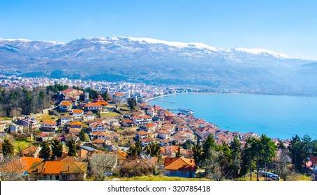 aerial view of macedonian city ohrid, which is famous for its unesco listed historical center and beautiful lake separating macedonia from albania.