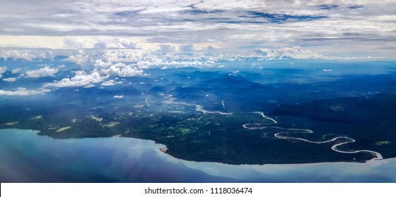 Aerial view to Madang province and Gogol river  Papua New Guinea