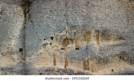 Aerial view of the Madara Horseman carved into a cliff in Bulgaria