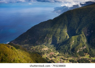 Aerial view of Madeira coastline,Portugal