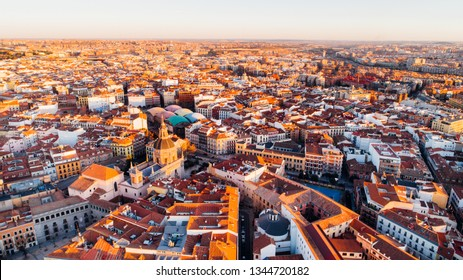 Aerial view of Madrid La Latina district at sunset. Architecture and landmark of Madrid. Cityscape of Madrid. Neighborhoods in capital city of Spain