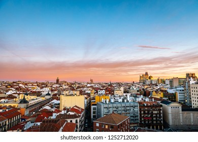 Aerial view of Madrid skyline at dusk, with the Telefonica Building to be recognised in the background.