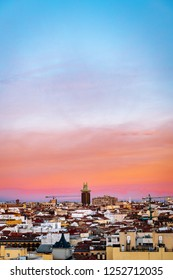 Aerial view of Madrid skyline at dusk, with the Towers of Colon to be recognised in the background.