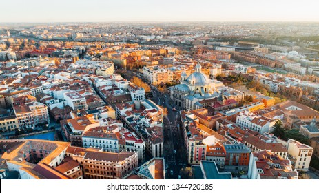 Aerial view of Madrid, vivid La Latina district at sunset. Architecture and landmark of Madrid. Cityscape of Madrid. Neighborhoods in capital city of Spain