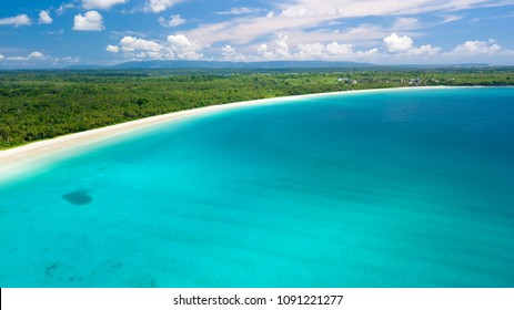 Aerial view of the Madwaer beach in the Kei Cecil island, Maluku, Indonesia