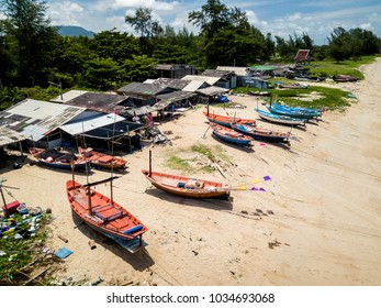 Aerial view of Mae Ramphueng fishermen's village. The local fishery continuously deteriorated because of the environmental effects from nearby industrial area. Rayong Province, Thailand.