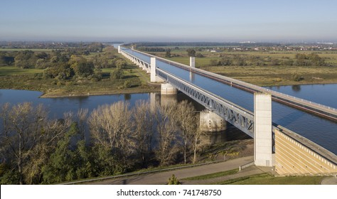 Aerial view of Magdeburg Water Bridge