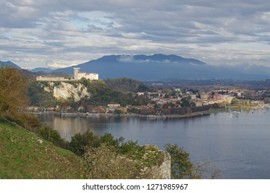 aerial view of Maggiore lake and Angera town from Arona, Piedmont, Italy
