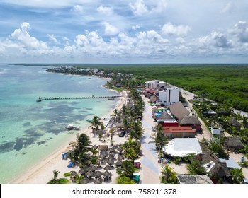 Aerial view to Mahahual village at Quintana Roo, Mexico
