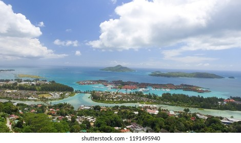 Aerial view of Mahe' mountains and coastline - Seychelles