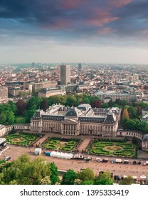 Aerial view of the main attraction of the city - the Royal Palace in Brussels with a park and gardens and an area in front of the building, Belgium